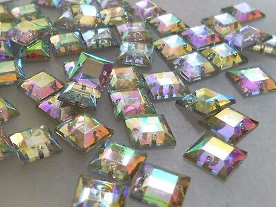 10x10mm SQUARE Crystal AB Rhinestones Acrylic Gems Flatback Sew On DIY 50pcs