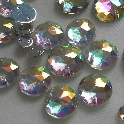 Crystal AB Acrylic MIX Size 6-10-12-14mm Flatback Round Strass Sew on  100pcs
