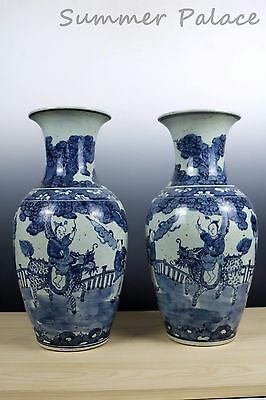 Very Beautiful Pair Chinese Blue and White Porcelain Kylin Immortals Vases