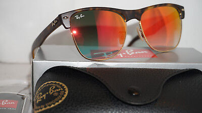 4b78653a74 RAY BAN SUNGLASSES CLUBMASTER OVERSIZED Tortoise Red Mirror RB4175 60924W  57 145 -  140.94