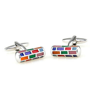 Mens Colorful Cylinder Stainless Steel Cuff Links Wedding Party Gift Cufflinks