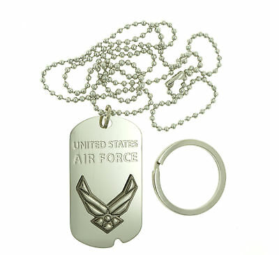 U.S. Air Force USAF Stainless Steel Dog Tag Necklace / Keychain