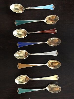 Eight (8) DAVID ANDERSEN ENAMEL HARLEQUIN SPOONS