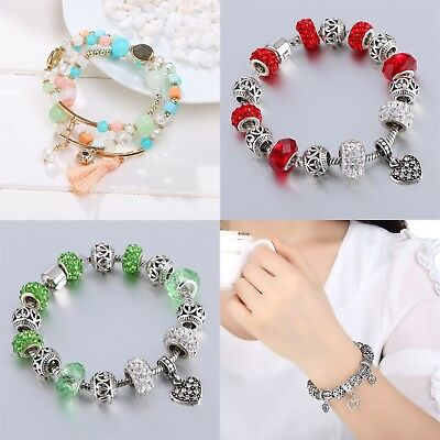 Wostu European 925 silver Charms Bracelet With Colorful Flower Beads For Women G