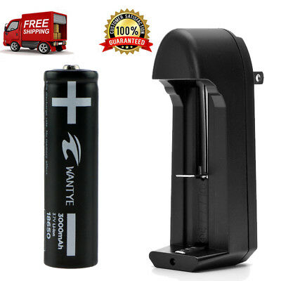 Li-ion 3000mAh 18650 Battery with Charger 3.7V Rechargeable Batteries Flashlight