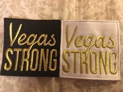 """~(2) LAS VEGAS """"VEGAS STRONG"""" GOLDEN KNIGHTS COMBO PATCHES 4x4 LARGE SUPER RARE~"""