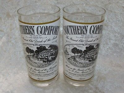 Southern Comfort 2x. Glassses White Label On Banks  of the Mississippi 14.5CmT