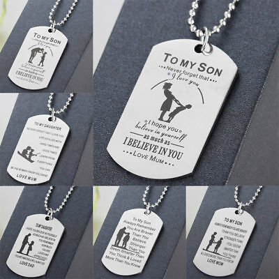 To My Son Daughter Gifts For Mother Father Teacher Pendant Chain Necklace Family