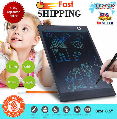 "LCD e-Writer Tablet Writing Drawing Memo Message Black Boogie Board 8.5"" UK"