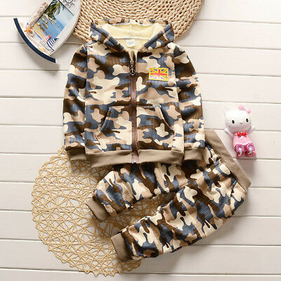 Hot Kids Infant Winter Boys Clothing Casual Camouflage Outfits Sports Warm Sets