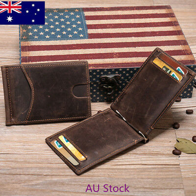 AU STOCK Mens Thin Bifold Money Clip Leather Wallet ID Credit Card Photo RFID