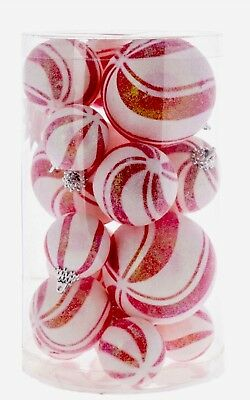 Peppermint Swirl Candy Ball Ornaments S/19 Sugar Coated Xmas Tree Decor Wreath