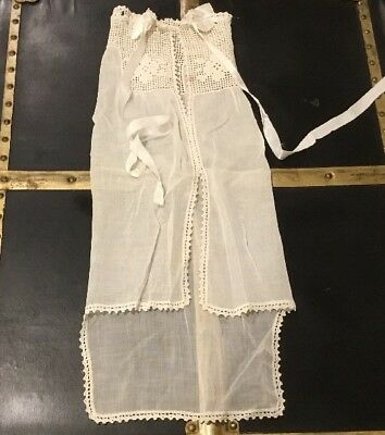 Antique White Baby Christening Cape Cloak Organdy With Hand Crochet