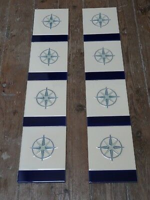 Victorian Style GALLERY Saturn and STOVAX Blue Glazed  Quarter Fireplace Tiles