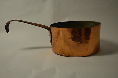 Vintage Heavy Hand Made Hammered Thick Copper Pan With Riveted Copper Handle