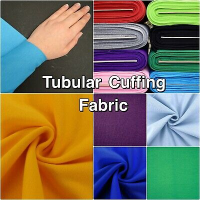 Plain Colour RIB 70cm Wide Tubular Ribbed CUFF CUFFING Cotton Jersey Fabric