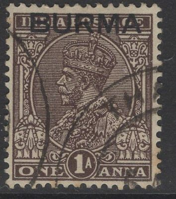 BURMA SG4 1937 1a CHOCOLATE FINE USED