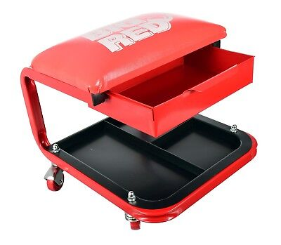 Rolling Mechanic Seat with Onboard Storage Padded Garage Creeper Stool Tool Tray