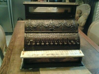 FABULOUS Huge Antique Cast Iron Brass? Cash Register for Restore HEAVY