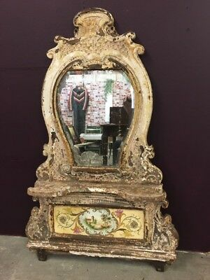 Architectural Antique French Cast iron Decorative over mantle mirror, patina,
