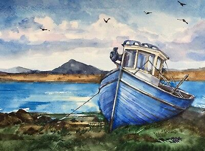 Old Fishing Boat At The Shore, Seascape, Original Watercolor Painting
