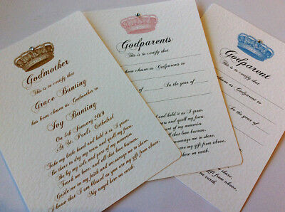 Godparents CHRISTENING/BAPTISM CERTIFICATE - Crown design - FREE UK P+P