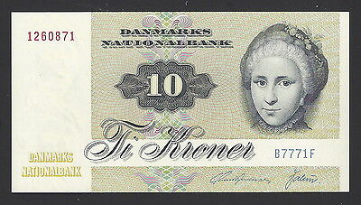 """UNC"" 1977 Denmark 10 Kroner P-48g ""S/N not same as picture"", #002"