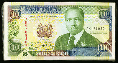 """UNC"" 1990 Kenya 10 Shilingi P-24b ""one note price"", #B"