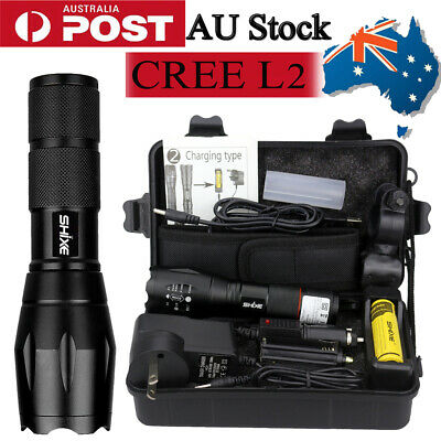 Police LED Flashlight Tactical 5000LM XML-T6 Zoomable Torch Lamp 18650 AU-01