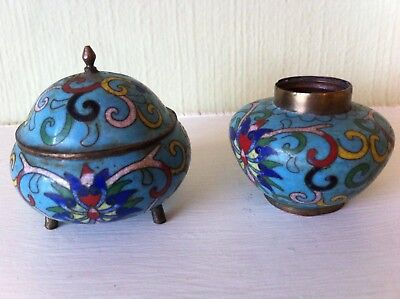 Late 19th Century / Early 20th Century Chinese Cloisonne Enamel Inkwell Set