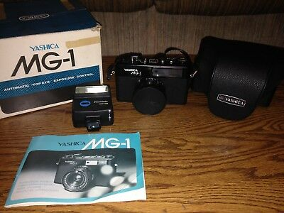 Yashica MG-1 35mm Camera w/45mm lens and Flash, Good Condition With Original Box