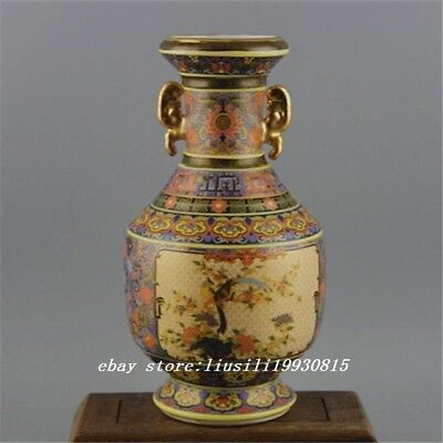 QING YONGZHENG China old antique Porcelain Colour enamels flower bird Vase