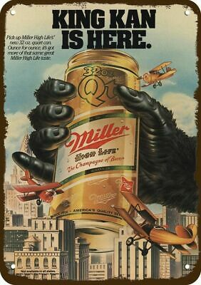 1985 MILLER HIGH LIFE BEER Vintage Look Replica Metal Sign - KING KONG KAN