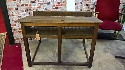 Vintage French School desk, Antique wooden and metal