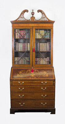 Antique English Victorian Mahogany Bureau Bookcase C1860