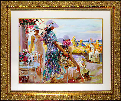 """Pino Daeni """"On the Terrace"""" Hand and Embellished Signed Custom Framed Serigraph*"""
