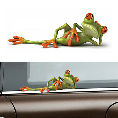 Car Stickers 3D Funny Green Lying Frog Wall Truck Window Vinyl Decal Sticker 1pc