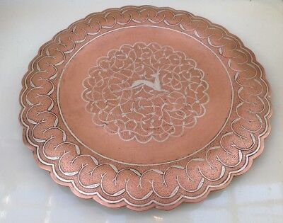 Vintage Persian Copper Plate Dish Silver