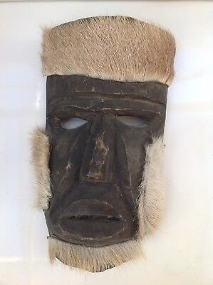 Mexican Oaxacan Carved Wood Mask Attached Fur