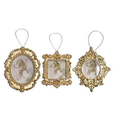 Pack of 3 Gold Photo Picture Frame Christmas Tree Pendants Decorations