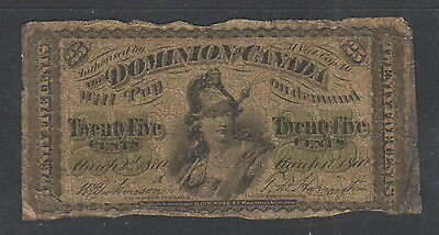 """CIR as Scans"" 1870 Dominion of Canada 25 Cents ""A"" Letter P-8b, #022"