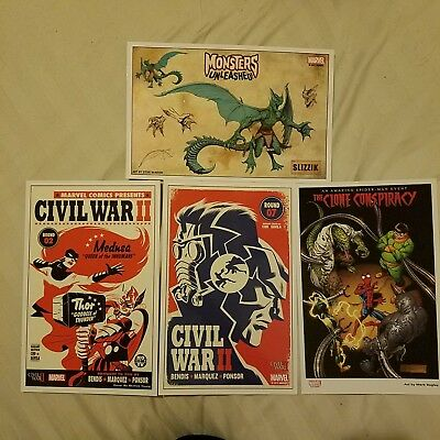 4x Marvel Comics Glossy Prints Civil War Thor Medusa Spider-Man Avengers Doc Ock