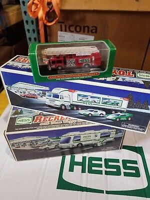 3 Hess Truck Lot 1997, 1998 and mini firetruck from 1999 ADULT OWNED