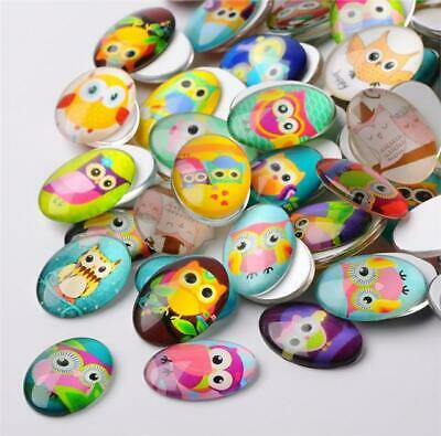 10 x OVAL OWL PRINTED CLEAR GLASS DOMED CABOCHONS 25mm X 18mm