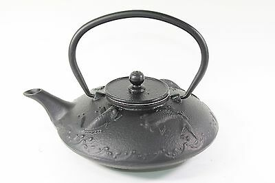 24 fl oz Black Fancy Carp Fish (Koi) Japanese Cast Iron Teapot + Infuser Filter