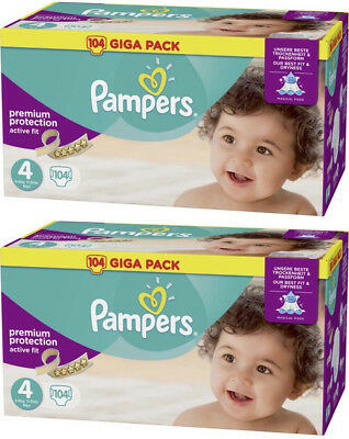 Pampers Giga Pack 208 Couches Active Fit Premium Protec Taille 4 Midi 8 à 16kg