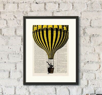 Antique Book page Art Print-Hot Air Balloon 7 Upcycled Dictionary Wall Art Print