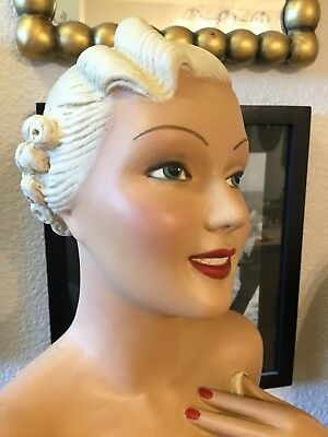 Stunning Woman Chalkware Plaster Counter Mannequin Cosmetics Store Display 20""