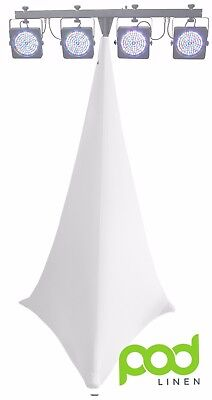 WHITE double sided XL spandex lycra light stand scrim  dj tripod cover 6ft-8ft