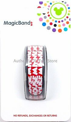 NEW Disney Parks Timeless Minnie Mouse Font Red MagicBand Magic Band 2